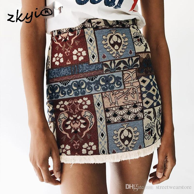 d1492d679 High Waist Skirts Womens Bottom Short Boho Style Chic Pencil Skirt Female  Vintage Sexy Mini Skirt 2017 Summer Beach Online with $26.29/Piece on ...