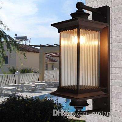 Éclairage Courtyard Vintage Extérieur Luxe E27 Lampes Verre Post Lampe Porte Lumière Villa Jardin De Applique Étanche vb6gyfY7