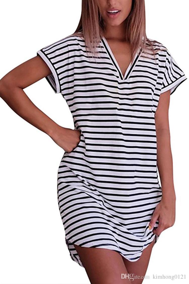 Womens Cotton Blended V Neck Short Sleeves Striped Arc Hem T Shirt Dress  Formal Cocktail Dresses Dresses For Parties From Kimhong0121 b3e4637d0