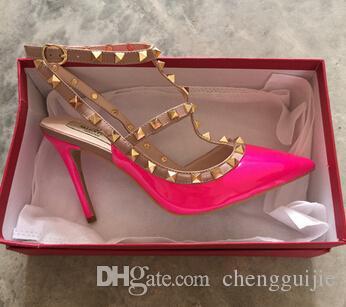 Le nuove vendite calde femme zapatos mujer valentine 2 cinghie scarpe donna rivetti pompe tacchi alti scarpe da donna spedizione gratuita