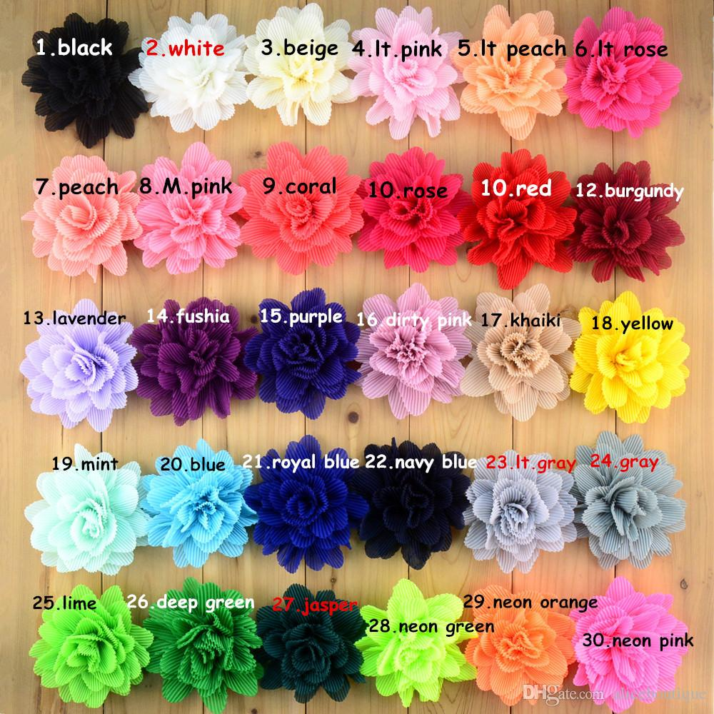 new fashion korean Folded Chiffon Fabric Flower Without Clips For Baby Girls Hair Accessories Hand Craft DIY H0243