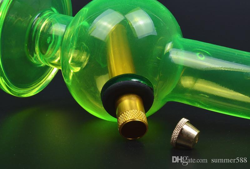 Tubos de vidro verde fluorescente colorido bongs de água enciclopédia recreio plataformas óleo dab beaker bacia de bronze downstem bubbler perc hookahs 03