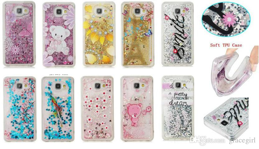 Quicksand Liquid Soft TPU Case For Samsung Galaxy S5 S7 S6 EDGE Grand Prime G530 Core G360 Glitter Flower Butterfly Smile Cartoon Skin Cover