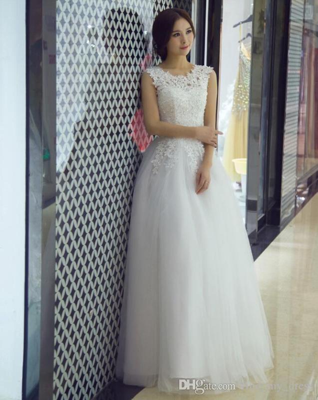 cd3402b238 Compre Una Línea De Vestidos De Novia 2017 Princesa Nuevo Diseño De Tul  Apliques Por Encargo Modernos Vestidos De Novia Corsé Hueco Venta Caliente  Hermosa A ...