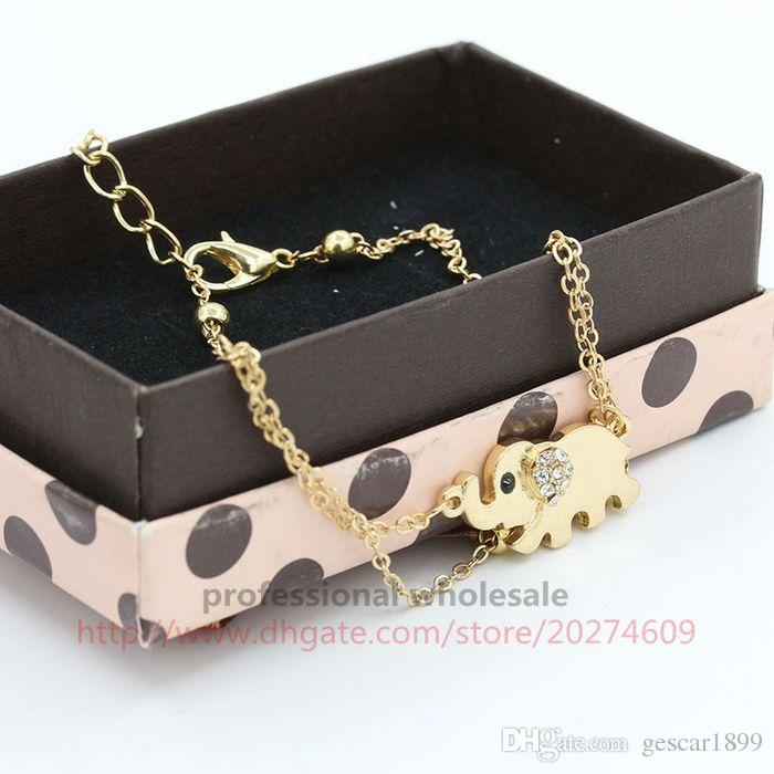 Hot Sale 2 Layers Gold Alloy Rhinestone Elephant Foot Chain Fashion Anklets Jewelry For Woman Lady Girls