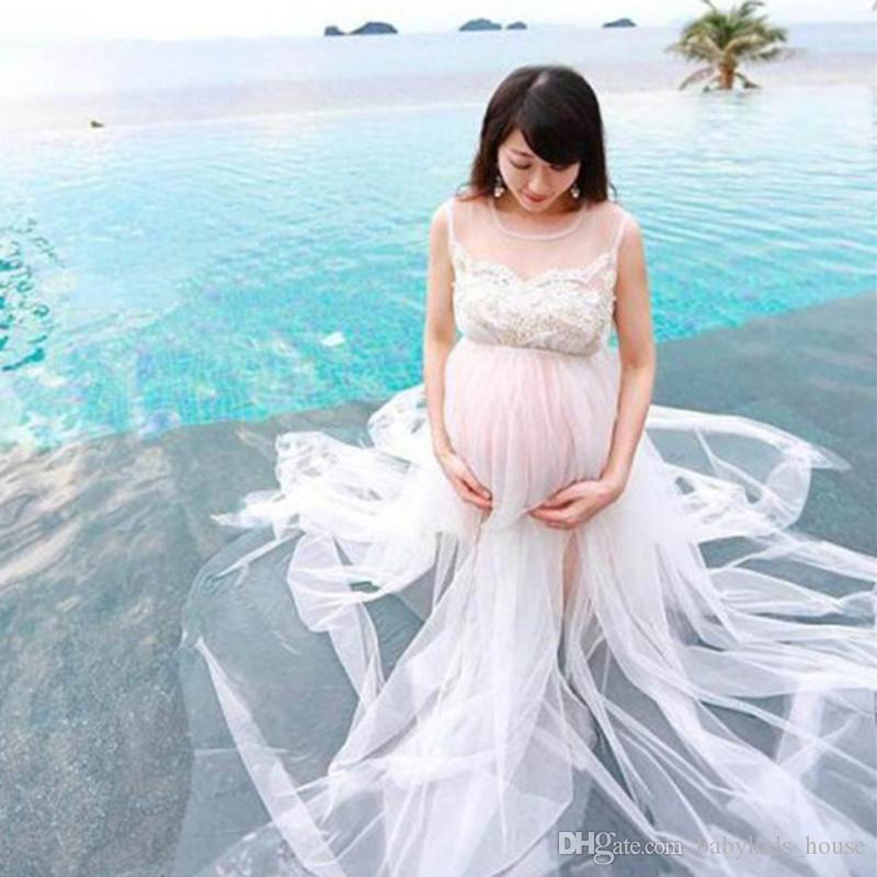 Родильная фотография реквизит белое кружевное платье беременности Длинное платье для беременных для фотосессии Maxi платья для беременности