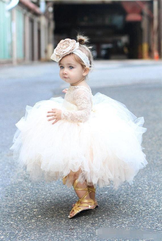 Bambino infantile Bambino Pageant Vestiti Flower Girl Dress Abito Manica Lunga Pizzo Tutu Abiti Avorio e Champagne Fiori Ragazze Abiti da sposa Abiti da sposa