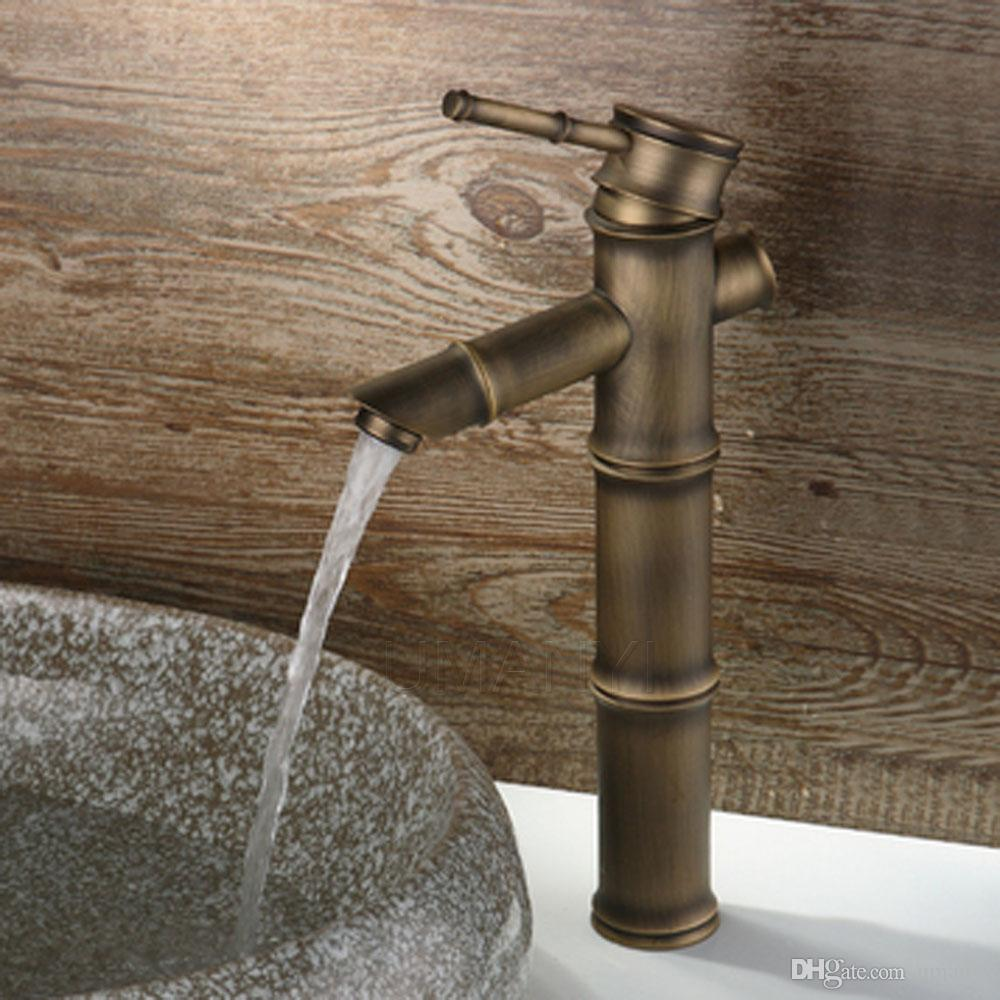 Discount Wholesale Bamboo Bathroom Basin Faucets Antique Brass ...