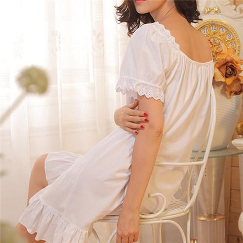 2016 Brand Sleep Lounge Women Sleepwear Cotton Nightgowns Sexy Indoor Clothing Home Dress White Nightdress Plus Size #P3