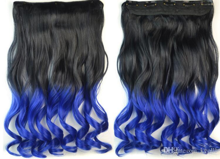NOUVEAUTÉ 2017 Haute qualité mode R2T5C section gradient cinq cartes cheveux bouclés couleur longue perruque cheveux bouclés morceau d'un perruque de cheveux d'accès de cinq cartes
