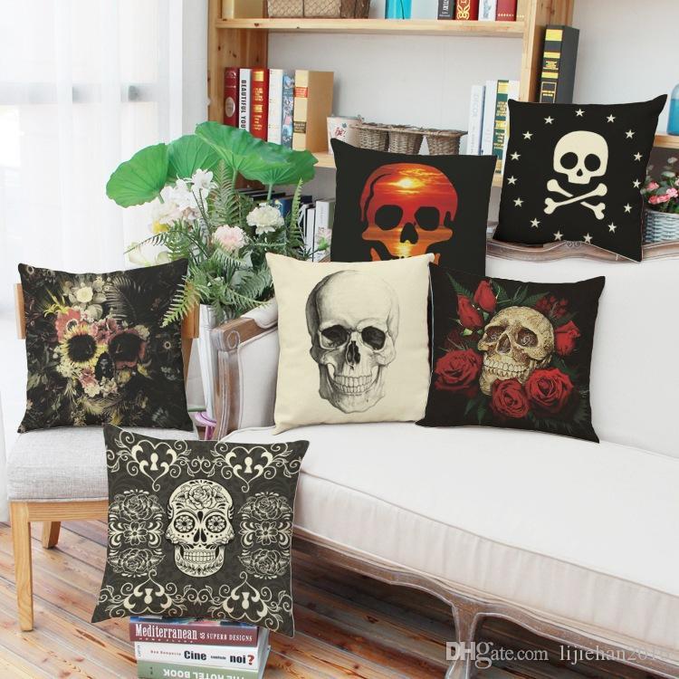 Linen Halloween Theme Skulls 40D Digital Print Pillow Case Pillowcase Interesting Clear Plastic Throw Pillow Covers