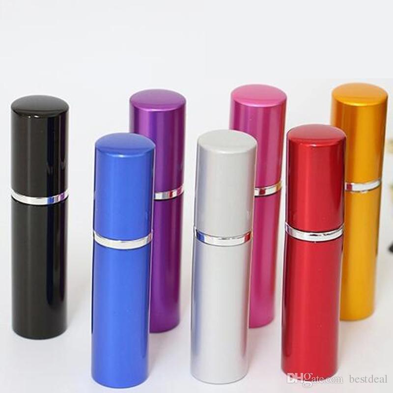 7 färger 5 ml metall aluminium tom glas parfymflaska resa flaskor parfymfördelare makeup spray 5 ml påfyllerbara mini hem dofter