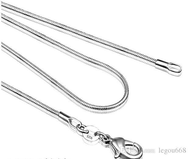 925 فضة الأفعى سلسلة قلادة للمرأة جراد البحر المشابك السلس سلسلة الأزياء والمجوهرات حجم 1 ملليمتر 16 18 20 22 24 بوصة