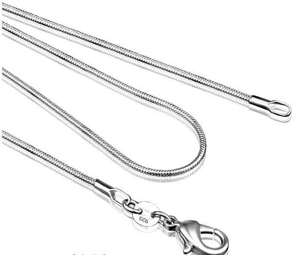 Collier en chaîne en argent sterling 925 pour femme fermoirs à homard Lisse chaîne de bijoux de mode taille 1mm 16 18 20 22 24
