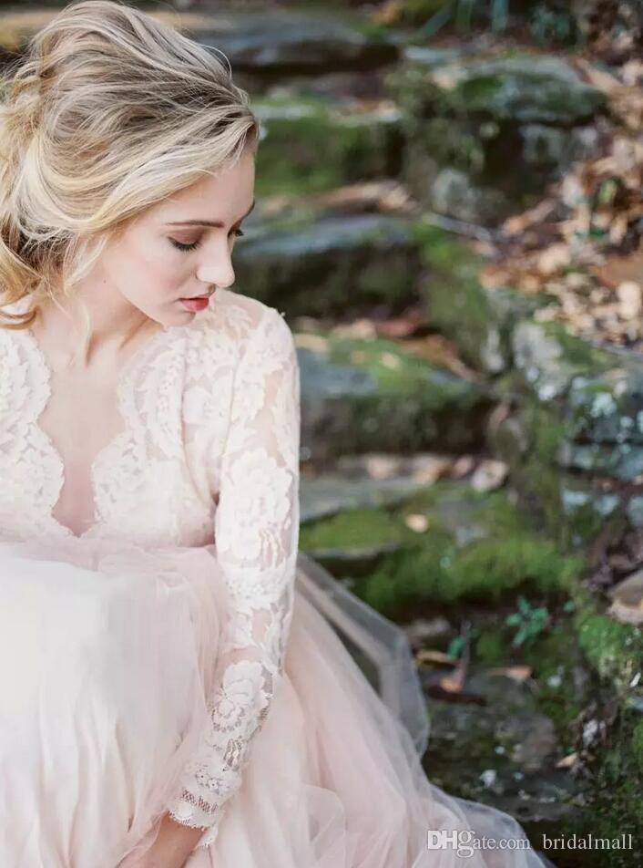 ملابس الزفاف الوردية الوردية ذات الأكمام الطويلة