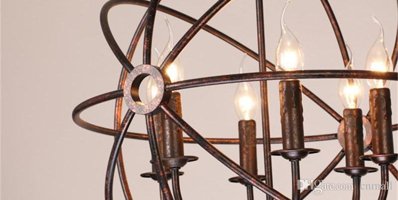 RH Lighting Restoration Hardware Vintage Pendant Lamp Foucault's Iron Orb Handelier Rustic Iron RH Loft Light 40cm 50cm 60cm Black/Iron rust
