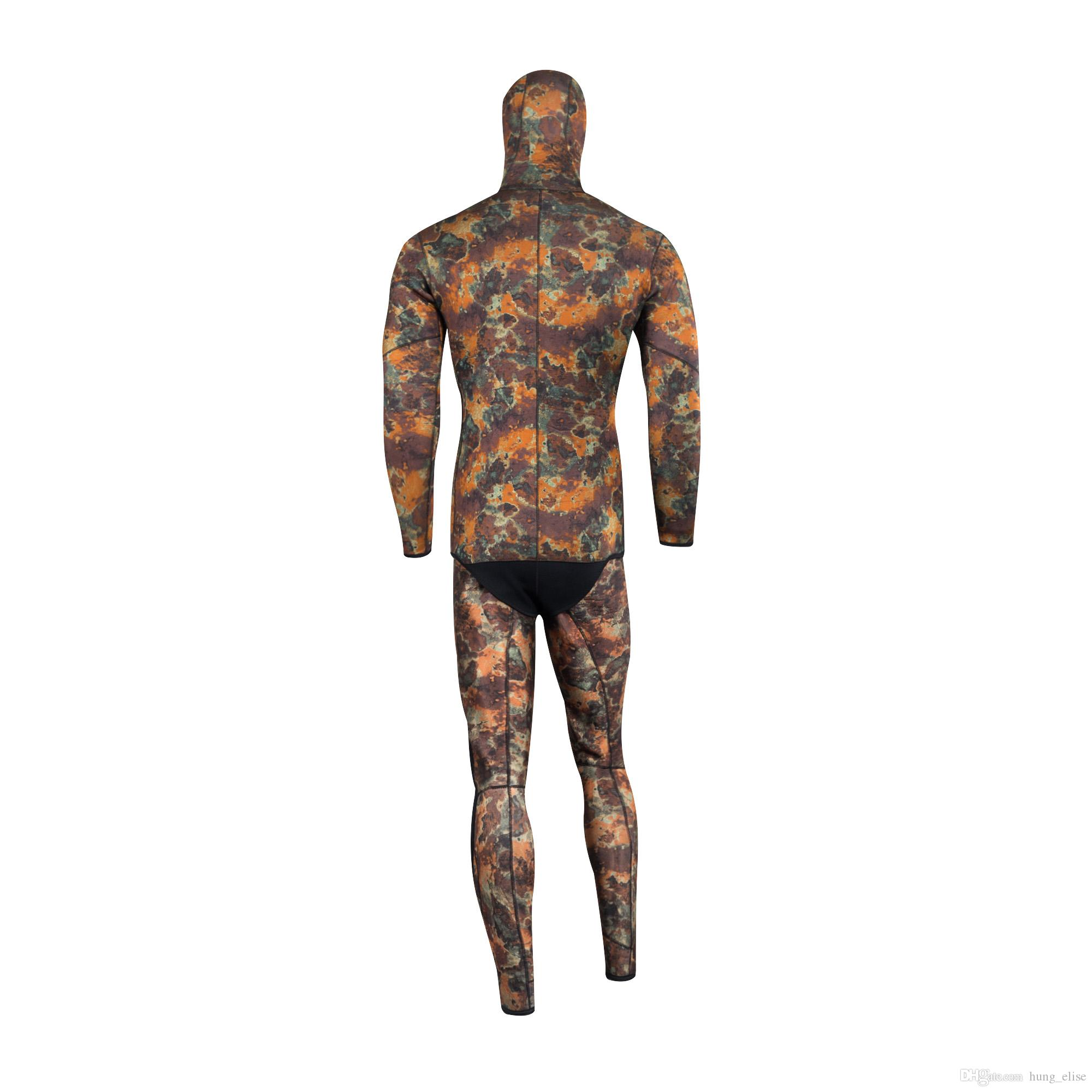High quality black 3.5mm camouflage professional separated diving wetsuit men's Spearfiishing suits Surf diving equipment