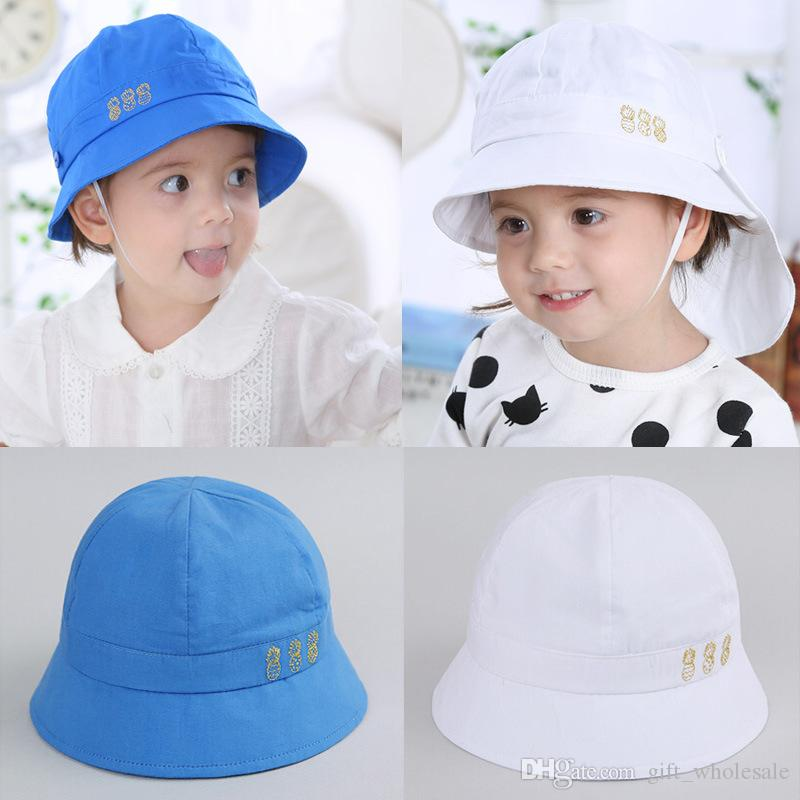 f0b3b6c179e9f 2019 Baby Girls Infant Pineapple Hats Sweet Children Outdoor White Blue Cap  Summer Beach Hat 6M 3Y Girls Boys From Gift wholesale