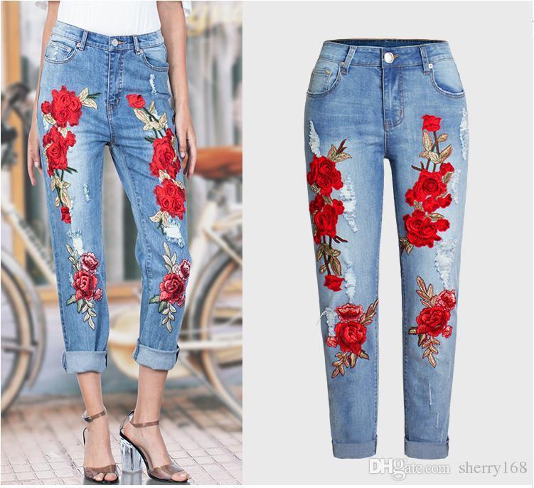 3D Boyfriend Jeans 2017 New Fashion Denim Embroidery Holes Jean Beading Pencil Jeans Woman Clubwear Style Street Holes Ripped Jeans femme