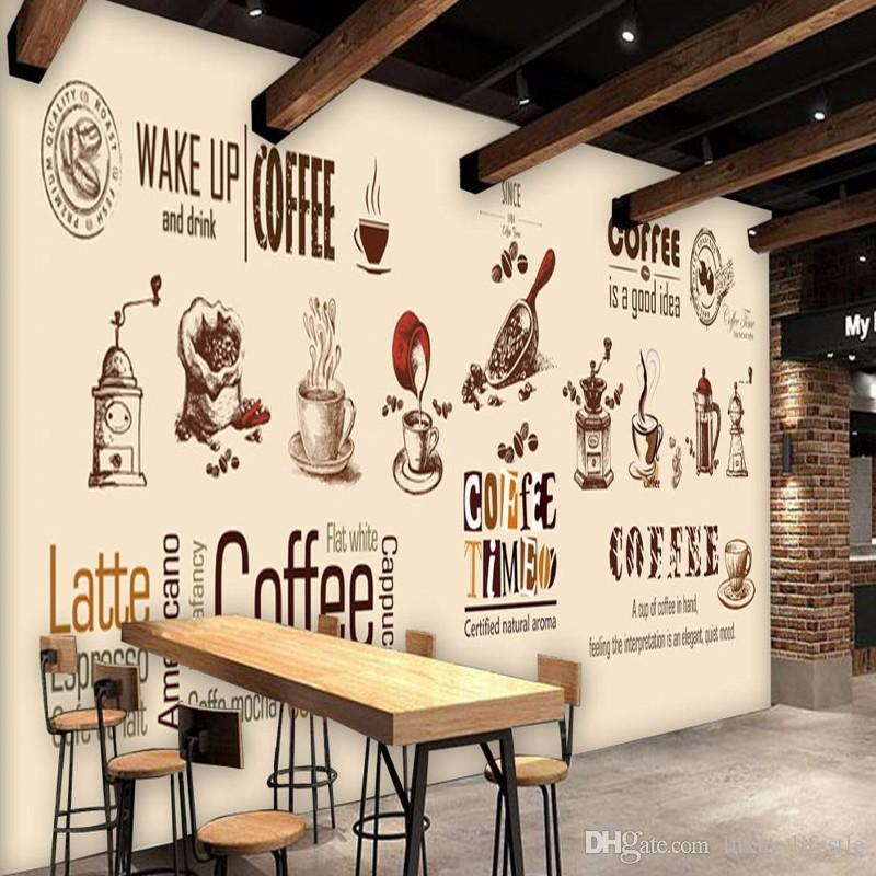 3d stereo hand painted coffee shop backdrop custom living for Cafe mural wallpaper