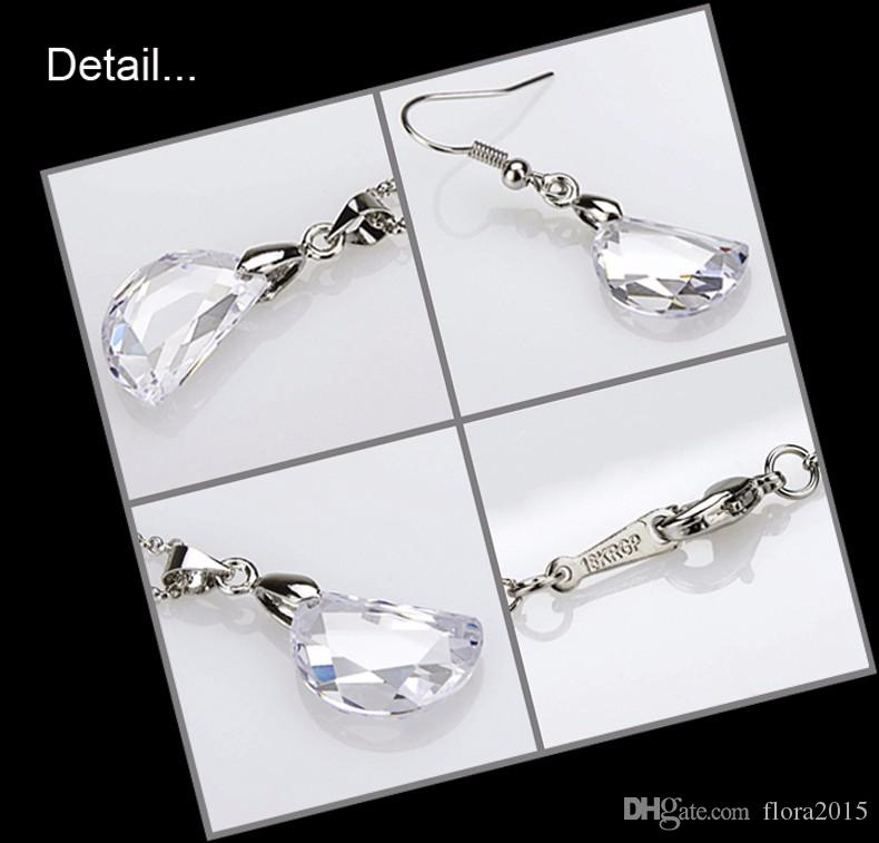 cubic zircon jewelry set for women pea shaped earrings and necklace for bridal wedding joyas bijoux gift for Christmas