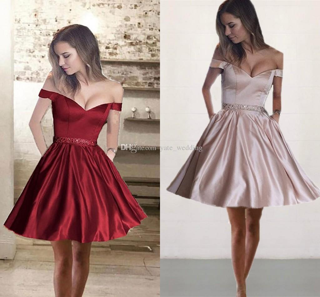 4c14d25acea 2018 Simple Satin Short Homecoming Dresses Off Shoulder Crystal Beaded  Backless Dark Red Champagne Navy Blue Prom Dresses Party Dress Homecomming  Dress Long ...