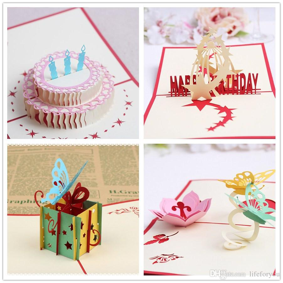4 Styles Packed Birthday Party Supplies Gift Greeting Cards Kids Favors 3D Pop Up Card Free Online