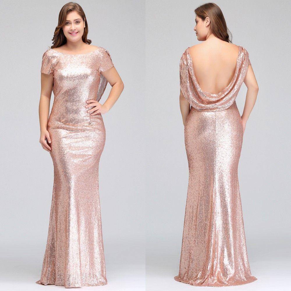 8b105b502 Plus Size Rosa De Ouro Da Dama de Honra Vestidos Longos Espumantes 2018  Novas Mulheres Elegantes Sereia Lantejoulas Noite Prom Vestido de Festa  Vestido ...