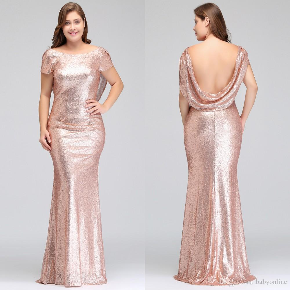 Plus Size Rose Gold Bridesmaid Dresses Long Sparkling 2018 New Women