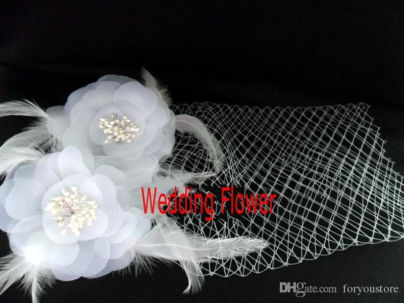 Hot Sale Bird Cage Veil Wedding Birdcage Veil 21-50 cm Netting Face Short Feather Flower White Fascinator Bride Hats with Veil