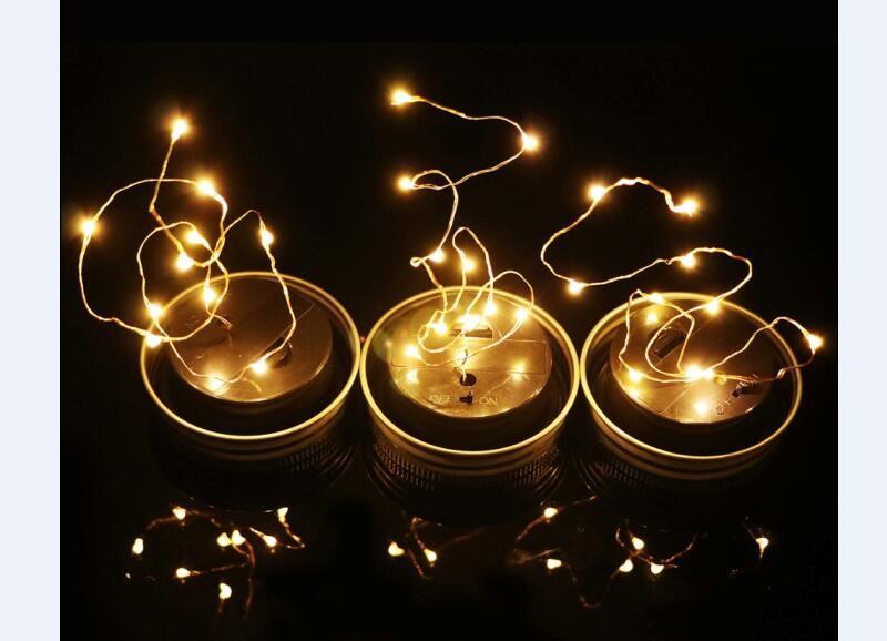2017 hot christmas party decor mason jar lid insert with yellow led light solar panel for glass jars christmas lights from sunlight56 292 dhgatecom - Mason Jar Christmas Lights