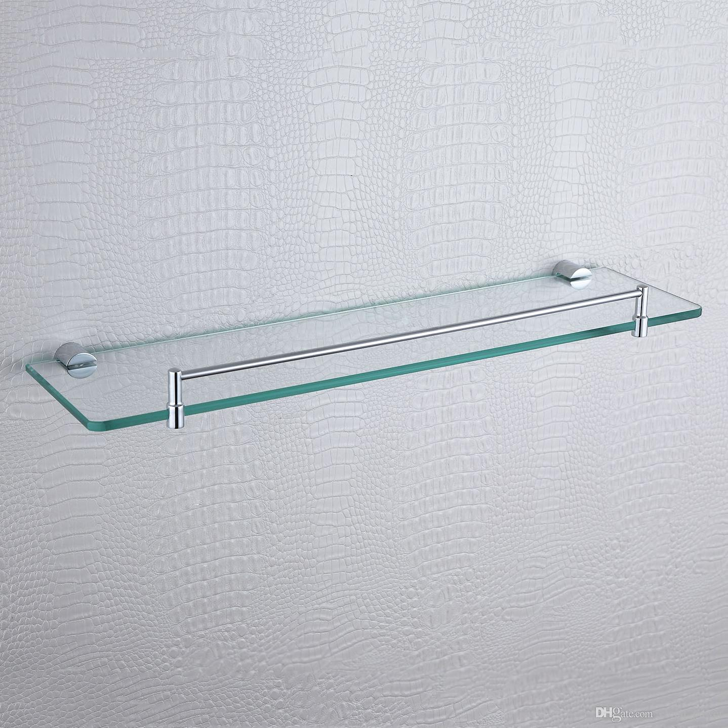 Single Glass Shelves Chrome-plated Brass Rectangle Floating Modern ...