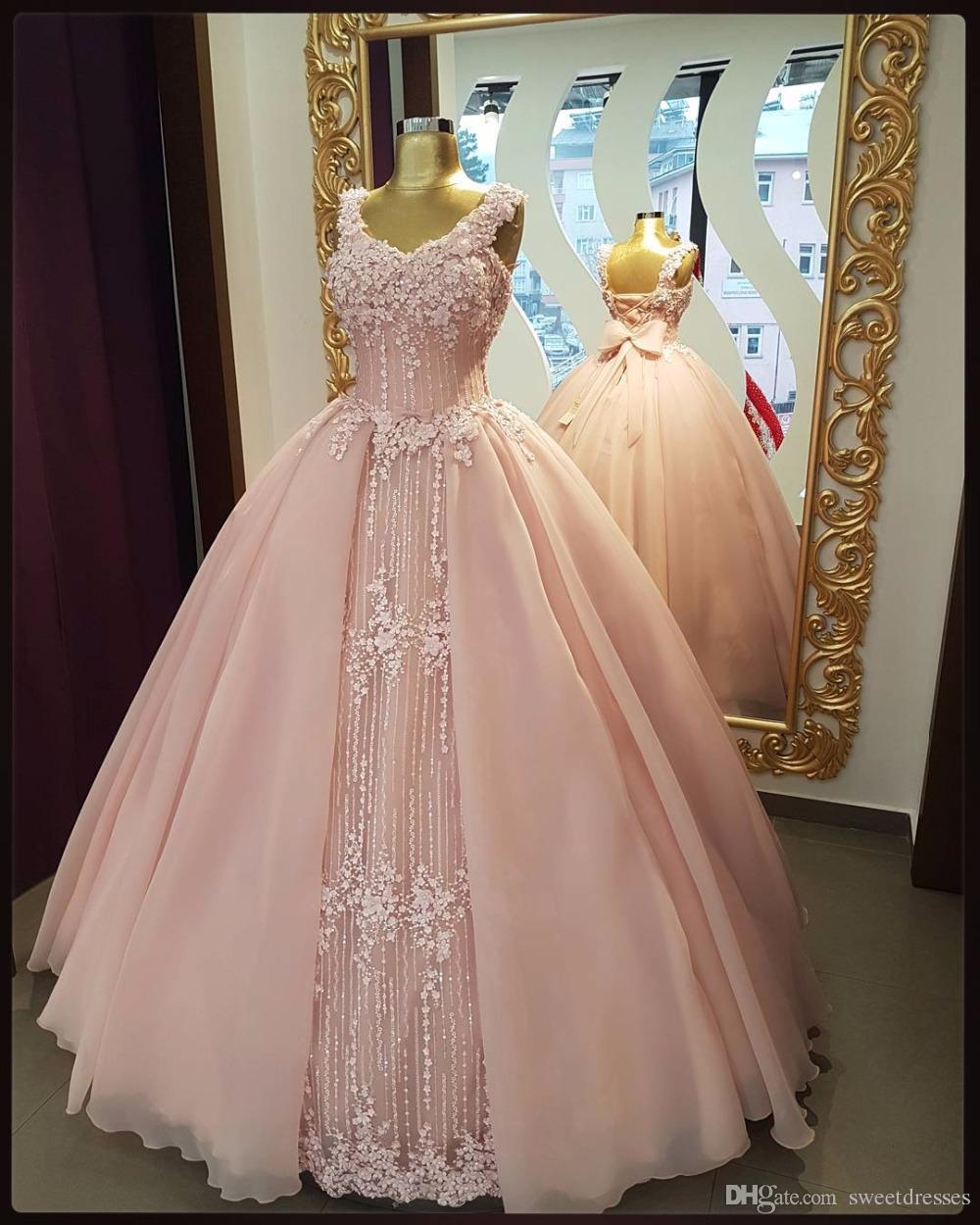Discount Beautiful Beading Wedding Dresses V Neck Pink Chiffon ...