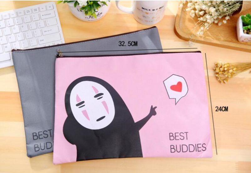 cute cartoon mask man zipper office hand document bag file folder a4 oxford fabric cloth school file folder