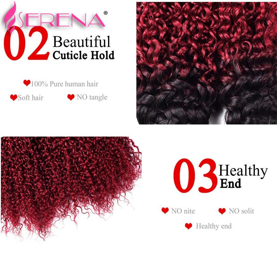 Ombre Kinky Curly Hair Human Hair Bundles With Closure Ombre 3 Bundle Deals With Frontal 1b Burgundy Brazilian Virgin Hair With Closure