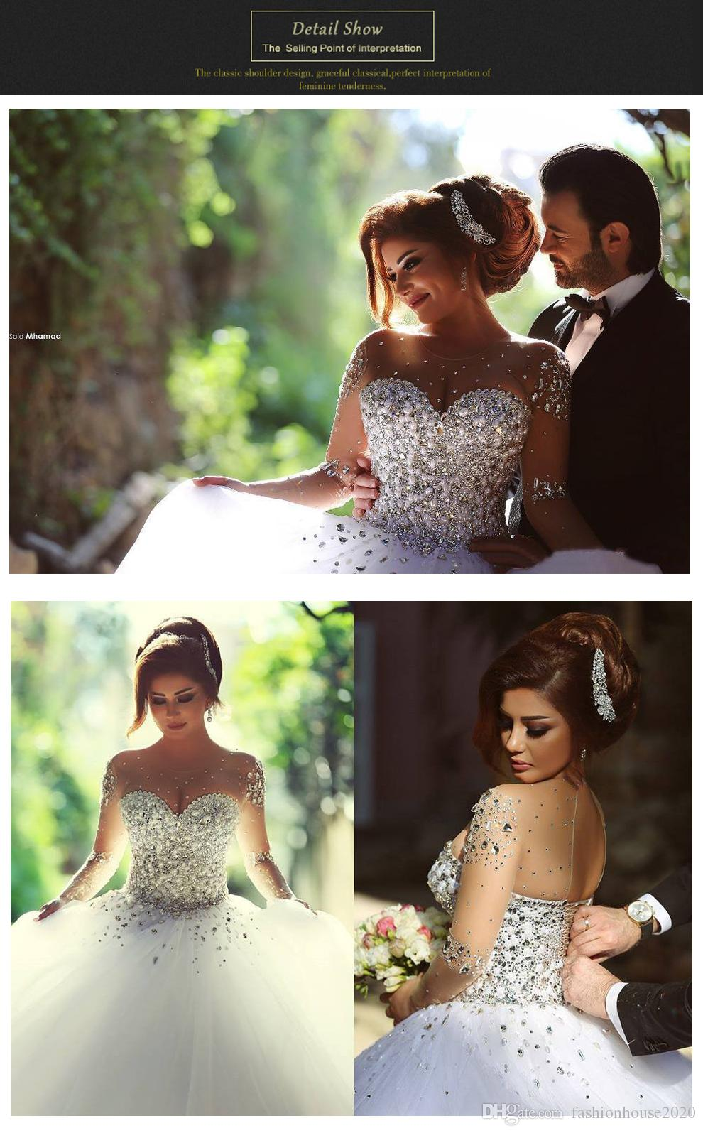 2020 Luxury Pearl Crystal Wedding Dresses Sheer Illusion Bodice Tulle Long Sleeve Wedding Bridal Gowns Plus Size Ball Gown Bride Dresses