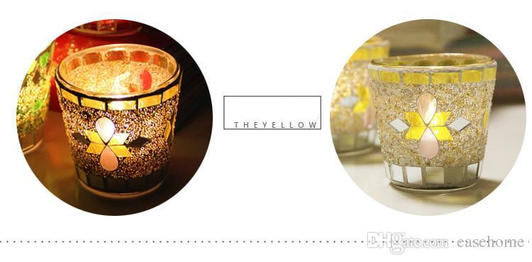 boda decoraciones evento y decoración para el hogar nuevo es mosaico candleholders vidrio colorido para la decoración del hogar