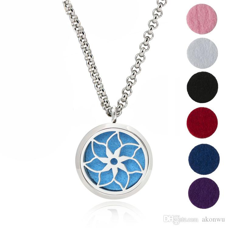 """Essential Oil Diffuser Necklace Aromatherapy Jewelry-30mm Hypoallergenic 316L Stainless Steel With 24""""Chain And 6 Washable Pads Flower"""