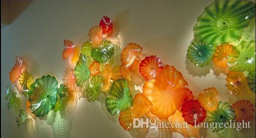 100% Boca Borosilicato Murano Lámparas Plato Estilo Colorido Mano Vidrio Placas Colgantes Para La Decoración De Arte De La Pared
