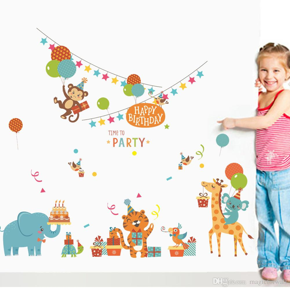 Cartoon Animals Birthday Party Wall Stickers for Kids Boys Girls Room Decor Air Balloon Cake Gift Party Wall Graphic Poster Wall Decals