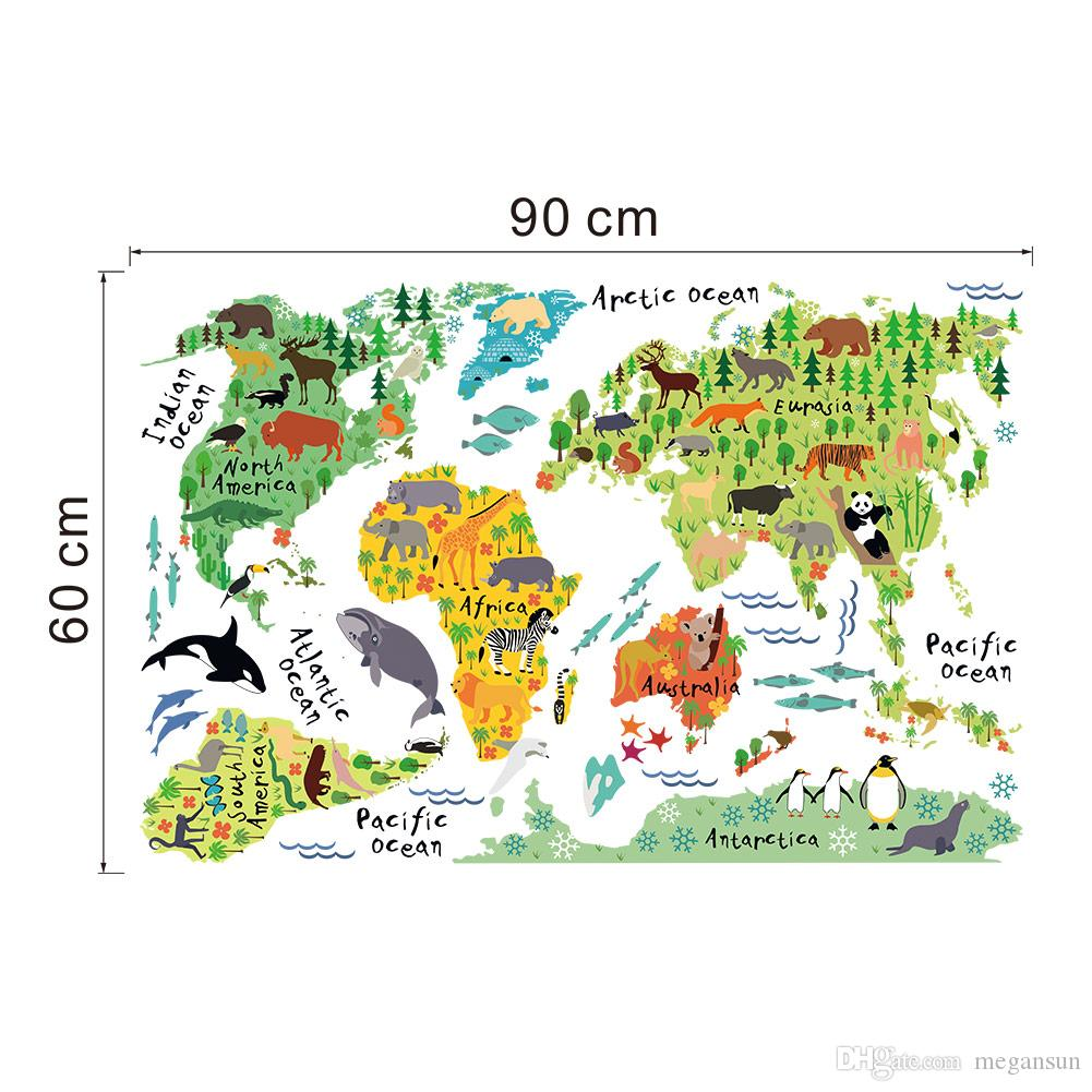 Animal world map wall sticker for kids rooms bedroom decor home animal world map wall sticker for kids rooms bedroom decor home decor living room colorful stickers vinyl stickers wall vinyl tree wall decals from megansun amipublicfo Images