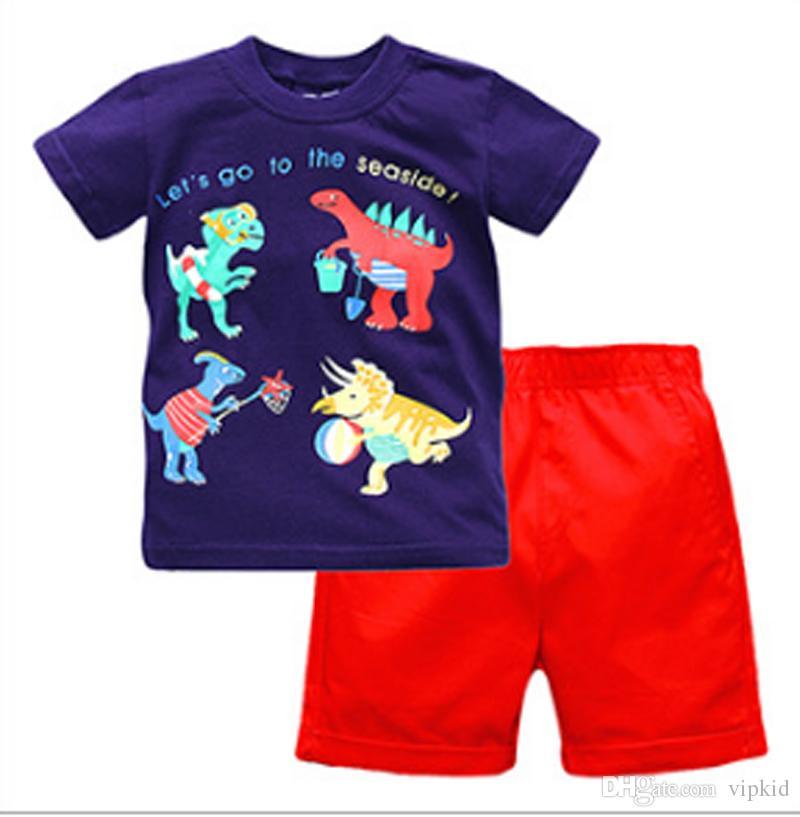 neues Kinderkleidungs-Sommerjunge Kurzes Hülsenhemd + kurze Hosen Zweiteiliger Anzug Baumwolljunge stellt 6 Größe ein