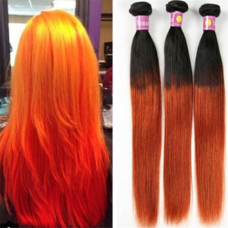 1b Orange Ombre Hair Brazilian Straight Ombre Virgin Hair Extensions