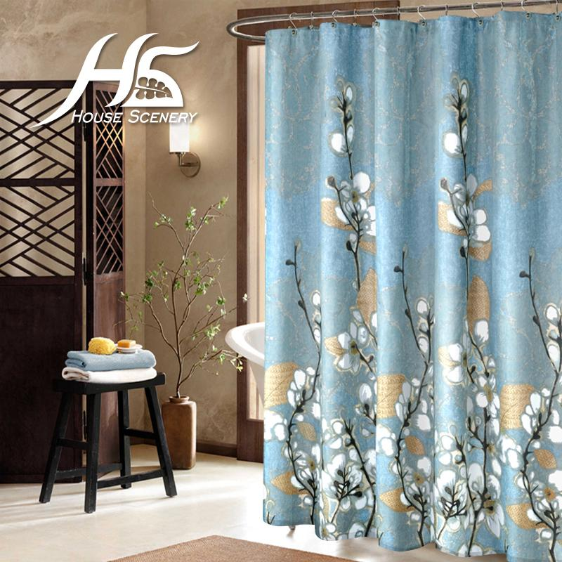 2018 Wholesale House Scenery Shower Curtains Floral With Hooks ...