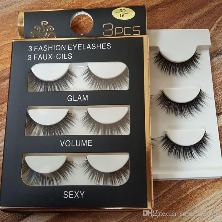2017 New makeup False Eyelashes Handmade Natural Long Thick 3 Fashion eyelashes 3Faux-cils Glam Volumo Sexy DHL Free =