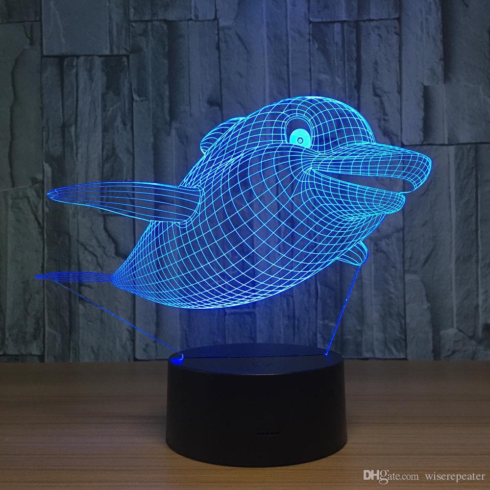 Bouton Boîte Alimenté Lampe Usb Le 3d Dropshipping Pile Tactile Saut Dans De 5ème Led Monde Démonstration Dauphin Illusion Cadeau Entier WH2EDI9