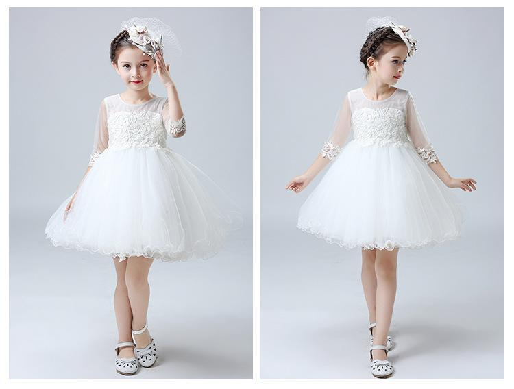 A-line Short / Mini Half Sleeves Boat Neck White Flower Girl Dresses for Wedding Brithday Dresses with Appliques