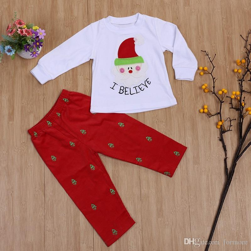 Baby Christmas Clothes Kids Santa Claus Printed Outfit Girl Sleepwear Xmas Toddler Christmas Clothing Set Children Boutique Clothes