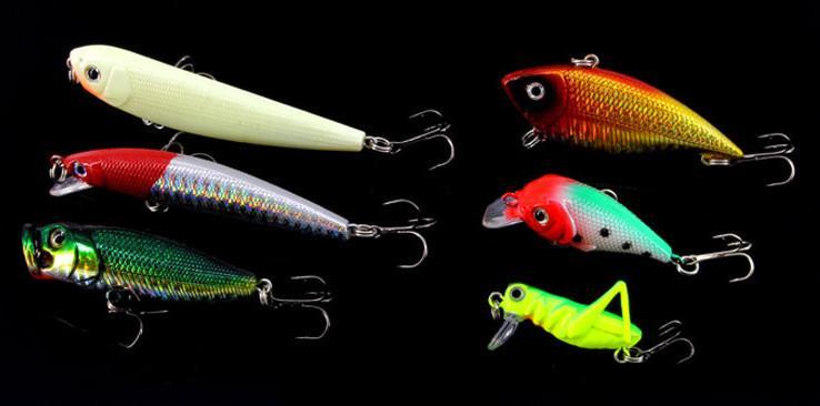 136 adet Balıkçılık Cazibesi Kiti Karışık Minnow Popper Kanca Isca Ile Spinner Kaşık Lure Yapay Yem Balık Cazibesi Set Pesca out227