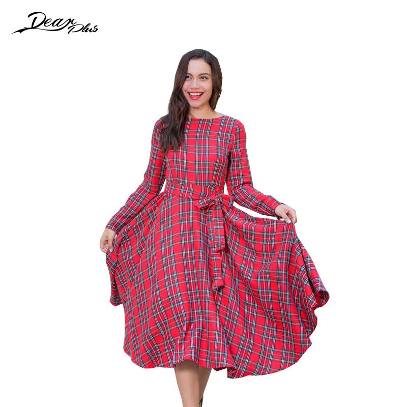 Elegant Plaid Prom Ball Gown Dress Women Long Sleeve Belted Autumn ...
